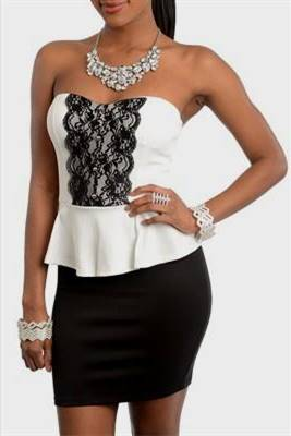 black and white peplum cocktail dresses