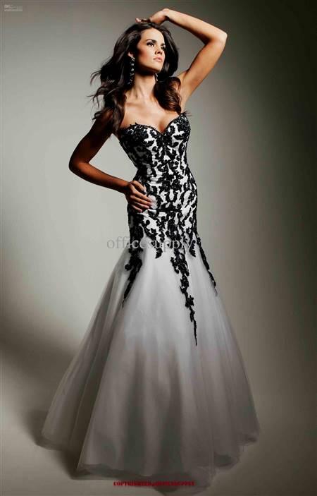 black and white prom dress