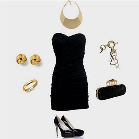 black dress gold accessories