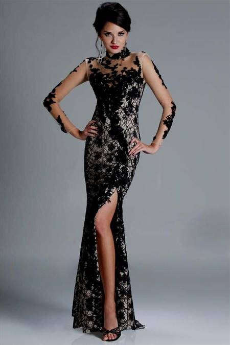 black lace mermaid prom dresses