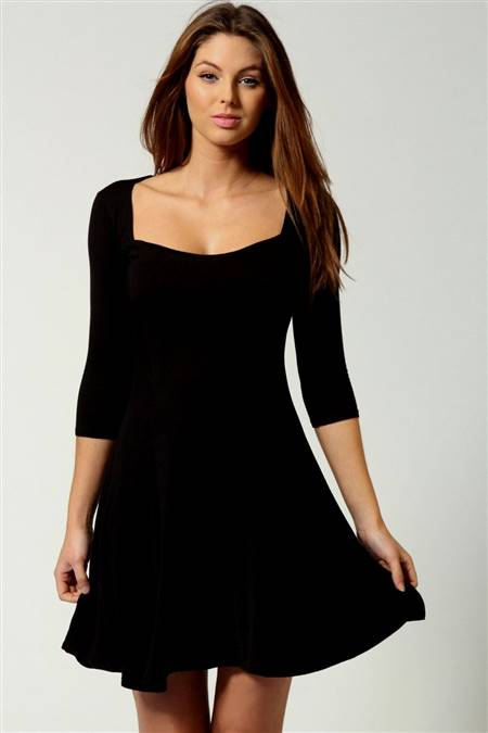 black skater dress with 3/4 sleeves