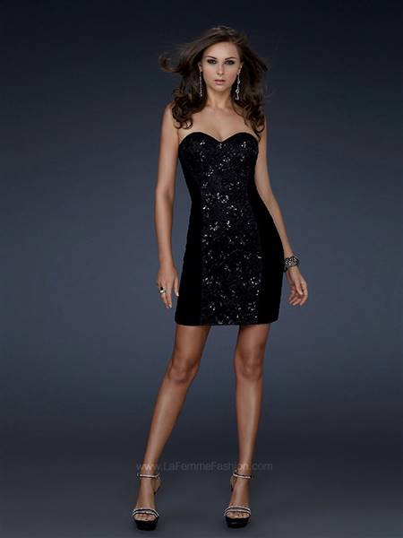 black strapless cocktail dress