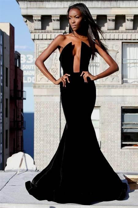 black strapless mermaid prom dresses