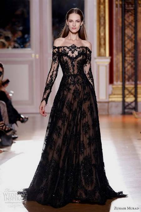 black wedding dresses with sleeves
