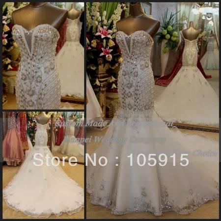 bling corset mermaid wedding dresses