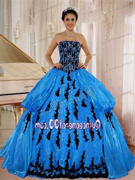blue and black ball gown