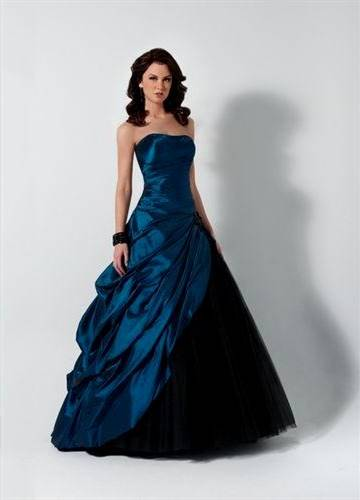 blue and black ball gowns