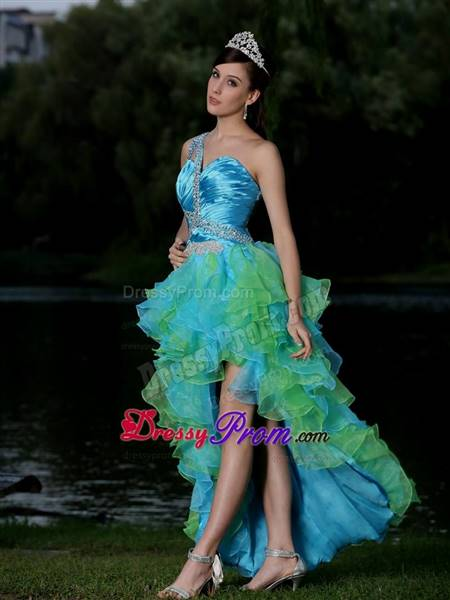blue and green party dresses