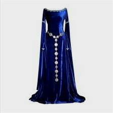 blue and silver medieval dress