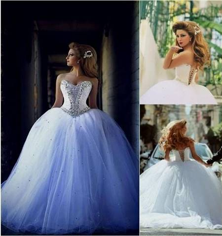 blue and white corset wedding dresses