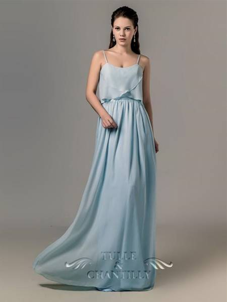 blue bridesmaid dresses with straps