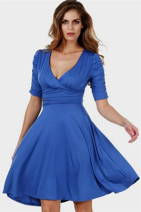blue casual dresses with sleeves