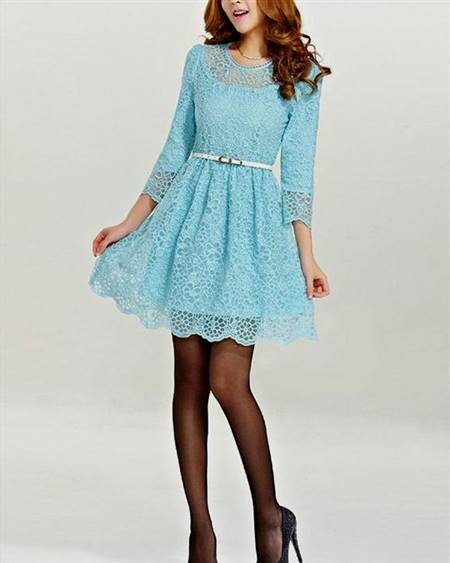 blue dresses with lace sleeves