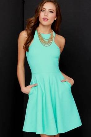 casual mint green dress