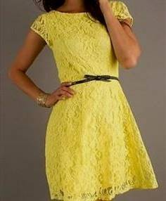 casual yellow lace dress