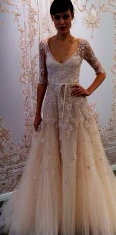 champagne wedding dress with sleeves