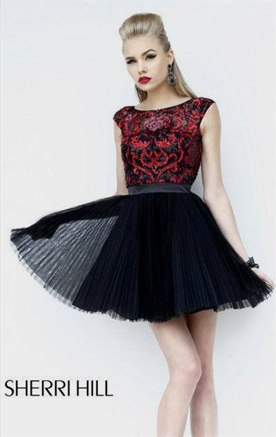 cocktail dress black and red