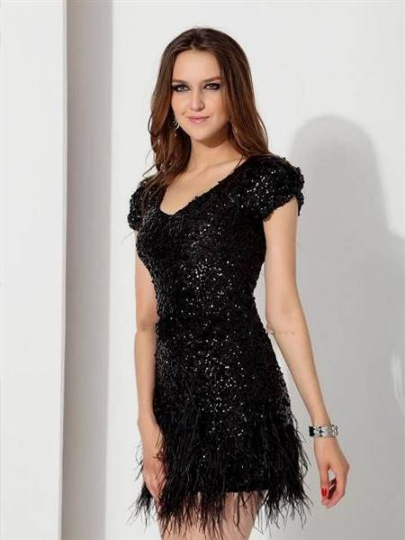 cocktail dress black and silver with sleeves