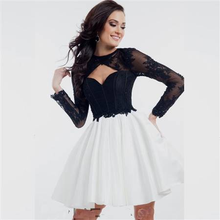 cocktail dress black and white with sleeves