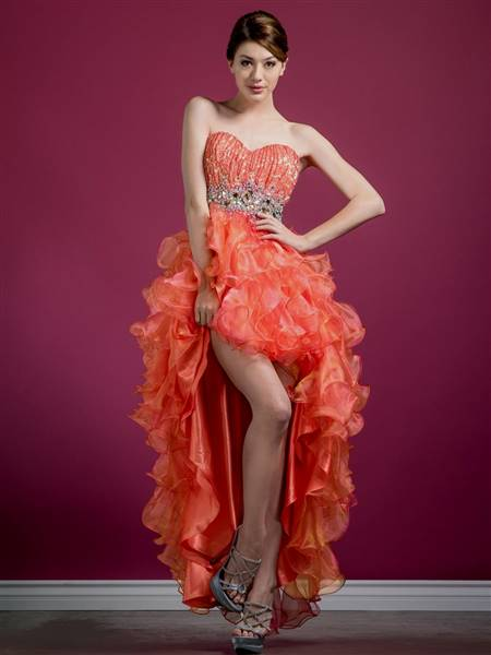 coral high low prom dresses