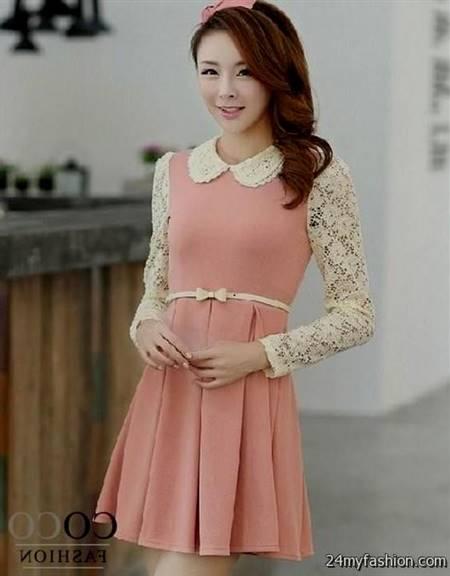 cute korean dresses with sleeves