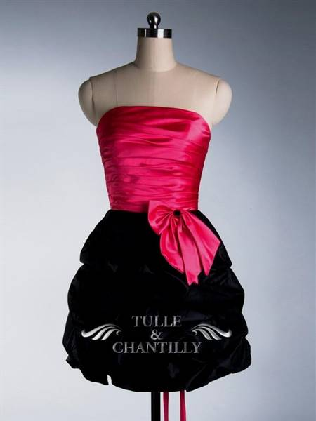 cute pink and black prom dresses