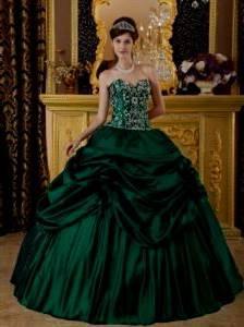 dark green ball gown