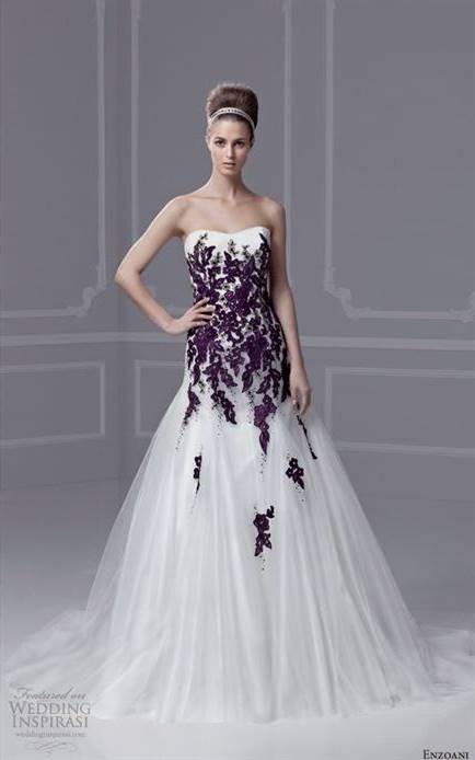 dark purple and white wedding dresses