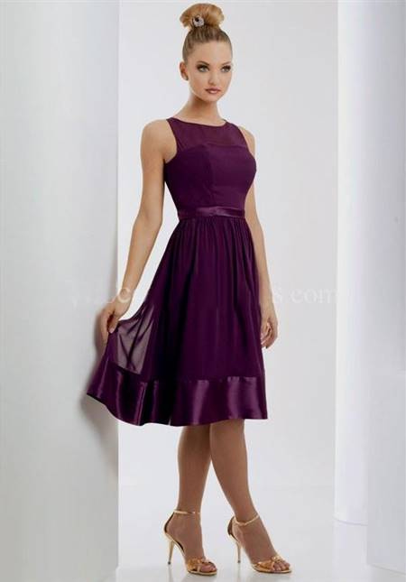 dark purple knee length bridesmaid dresses