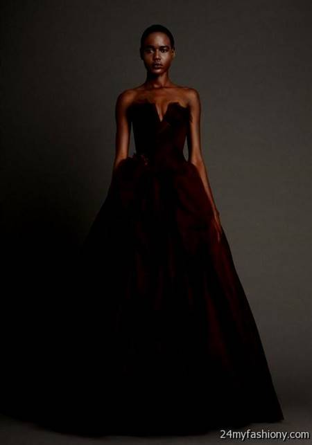 dark red ball gown