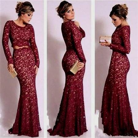 dark red prom dresses with sleeves