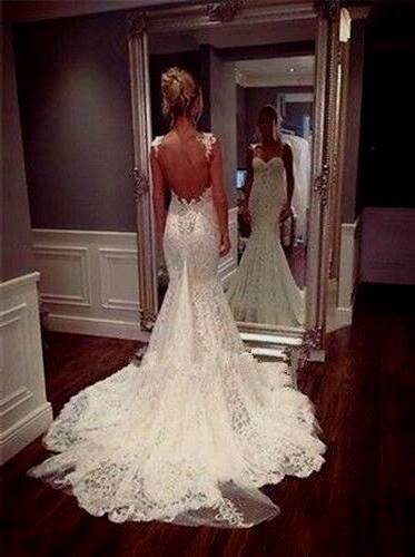 fishtail backless lace wedding dress