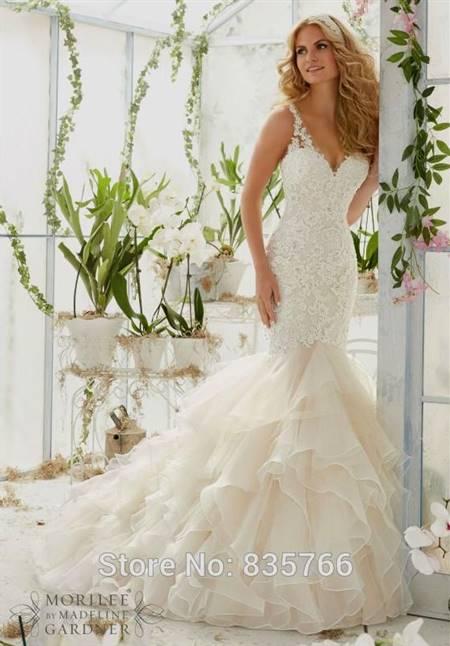 fishtail wedding dress with straps