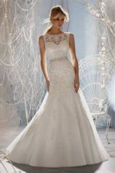 fit and flare lace wedding dress with bling