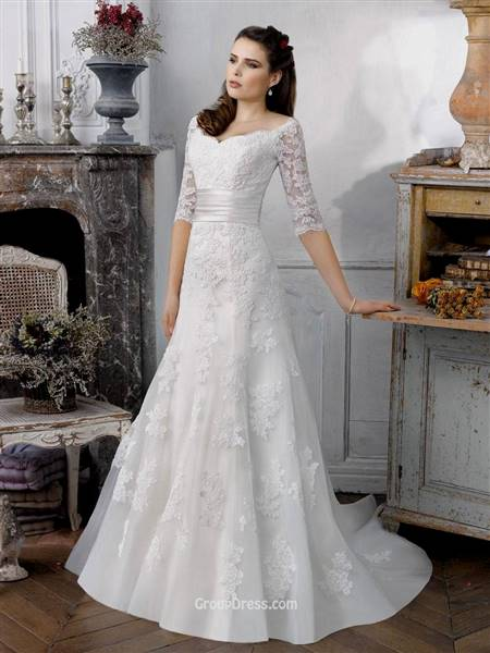 fit and flare wedding dress with sleeves
