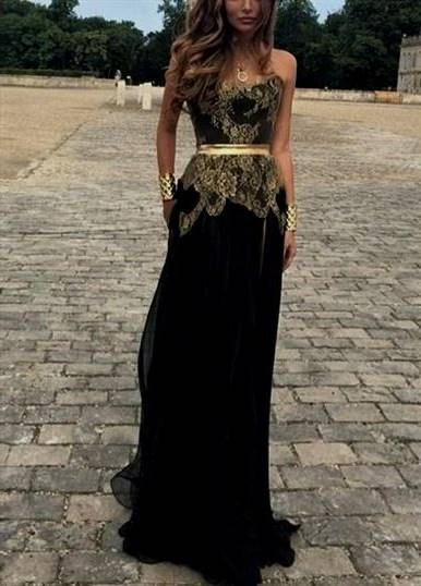 gold and black prom dresses