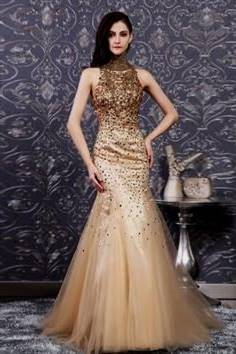 gold mermaid prom dresses