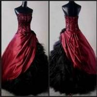 gothic prom dresses red and black