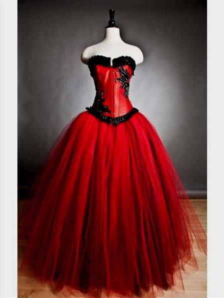 gothic red and black prom dress