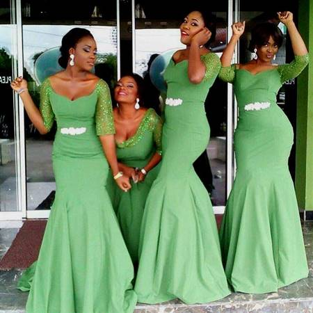 green bridesmaid dresses with sleeves
