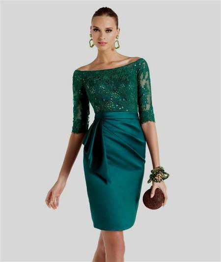 green cocktail dress with sleeves