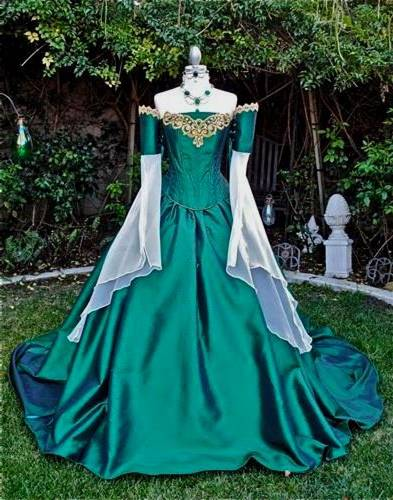 green medieval dress with corset