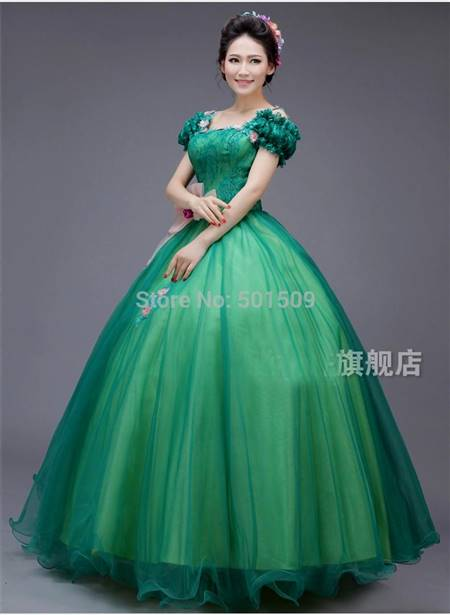 Green Medieval Princess Dress B2b Fashion