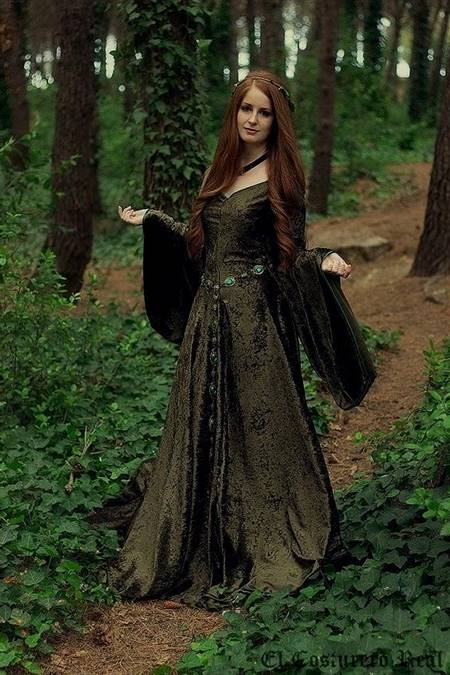 green medieval princess dresses