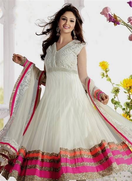 half white anarkali dresses