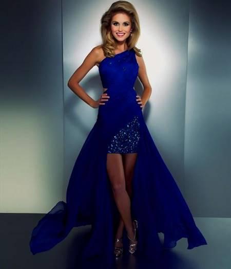 high low royal blue prom dresses