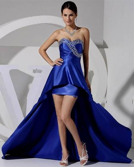 high low royal blue prom dresses