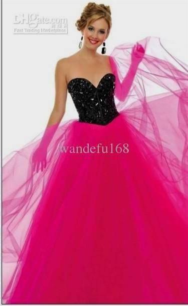 hot pink and black bridesmaid dresses