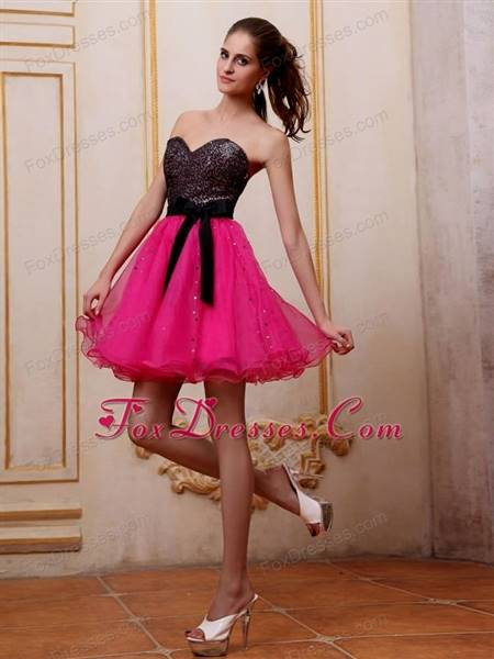 hot pink and black prom dresses