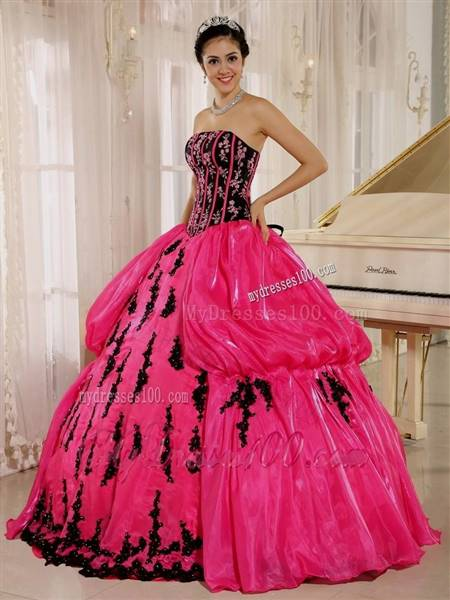 hot pink and black quinceanera dresses